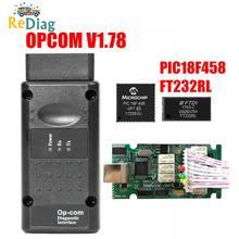 Venda quente opcom v1.99 v1.95 v1.78 v1.70 v1.65 v1.59 para opel ferramenta de diagnóstico pic18f458 & ftdi chip nec relé OP-COM 120309a