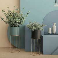 Nordic Modern Metal Wrought Iron Bracket Flower Pots Floor Flower Stand Flower Ornaments Living Room Home Decorations Artificial