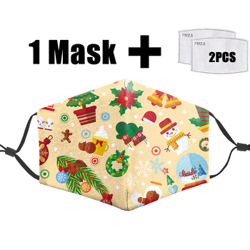 Christmas Present Funny Print 3D Masks Anti Dust Bacteria Proof Flu Washable Mouth-Muffle Pm2.5 Filter Reusable Adult Mask Face