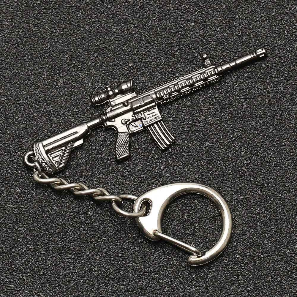 PUBG Keychain M416 AKM SCAR AWM M24 Kar98k VSS Backpack Armor Helmet Pan Flare Gun Keyring Key Chain Ring Army Jewelry Wholesale