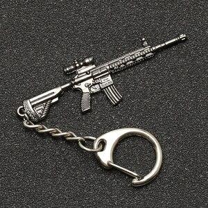 PUBG Keychain M416 AKM SCAR AWM M24 Kar98k VSS Backpack Armor Helmet Pan Flare Gun Keyring Key Chain Ring Army Jewelry Wholesale(China)