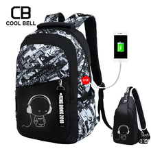 Oxford Waterproof Men Backpack Boys School Bags For Teenagers High Student Chest Bag Set