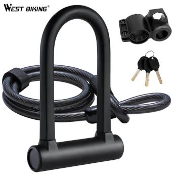 Strong Security U Lock with Steel Cable Bike Lock Combination Anti-theft Bicycle Bike Accessories for MTB,Road,Motorcycle,Chain bike lock chain wire lock anti theft chain lock for bicycle cycling locks steel cable electric bicycle equipment security lock