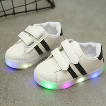 Hook-Loop LED Lighted Comfortable Sports Children Girls Boys Casual Shoes Tennis Kids Sneakers Fashionshoe Stylish Striped converse kids shoes hoop loop high cut comfortable casual sneakers 654191c ys