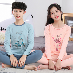 Qiuyi/костюм Qiutu для подростков, тонкое хлопковое термобелье для мальчиков и девочек, нижнее белье для школьниц, термобелье пижамы для мальчик...