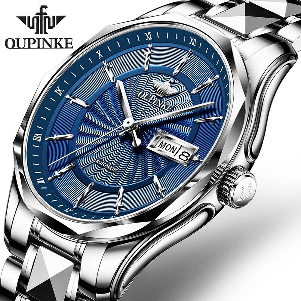 OUPINKE Роскошные брендовые модные автоматические механические мужские наручные часы с сапфировым зеркалом водонепроницаемые вольфрамовые С...