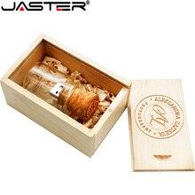 JASTER עץ פקק נסחף בקבוק usb2.0 דיסק און קי pendrive 4gb 8gb 16gb 32gb 64gb בברכת בקבוק חתונה מתנה לקוחות לוגו