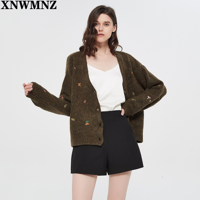 XNWMNZ Za women Vintage knit cardigan with embroidery Long sleeves V-neck ribbed trims Cardigan Female Elegant sweater Outerwear 3