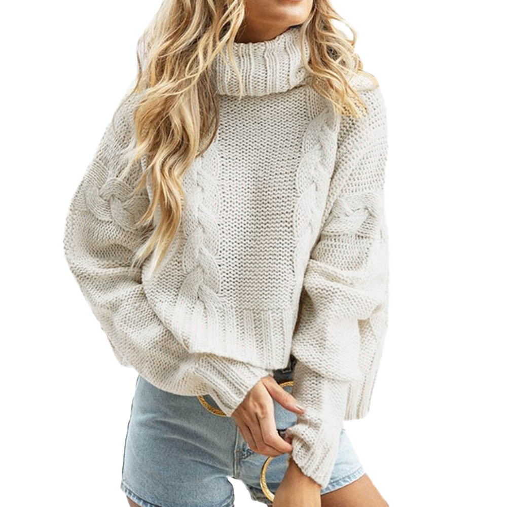 Women's Bat Sleeve High Collar Knit Sweater Casual Business Bottoming Wear Loose Sweater Warm And Comfortable Fashion