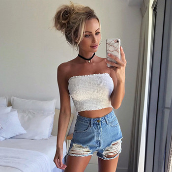 Strapless Elastic Boob Bandeau Tube Tops For Women Cropped Tanks Sexy Solid Ruched Bra Lingerie Breast Wrap Crop Tops