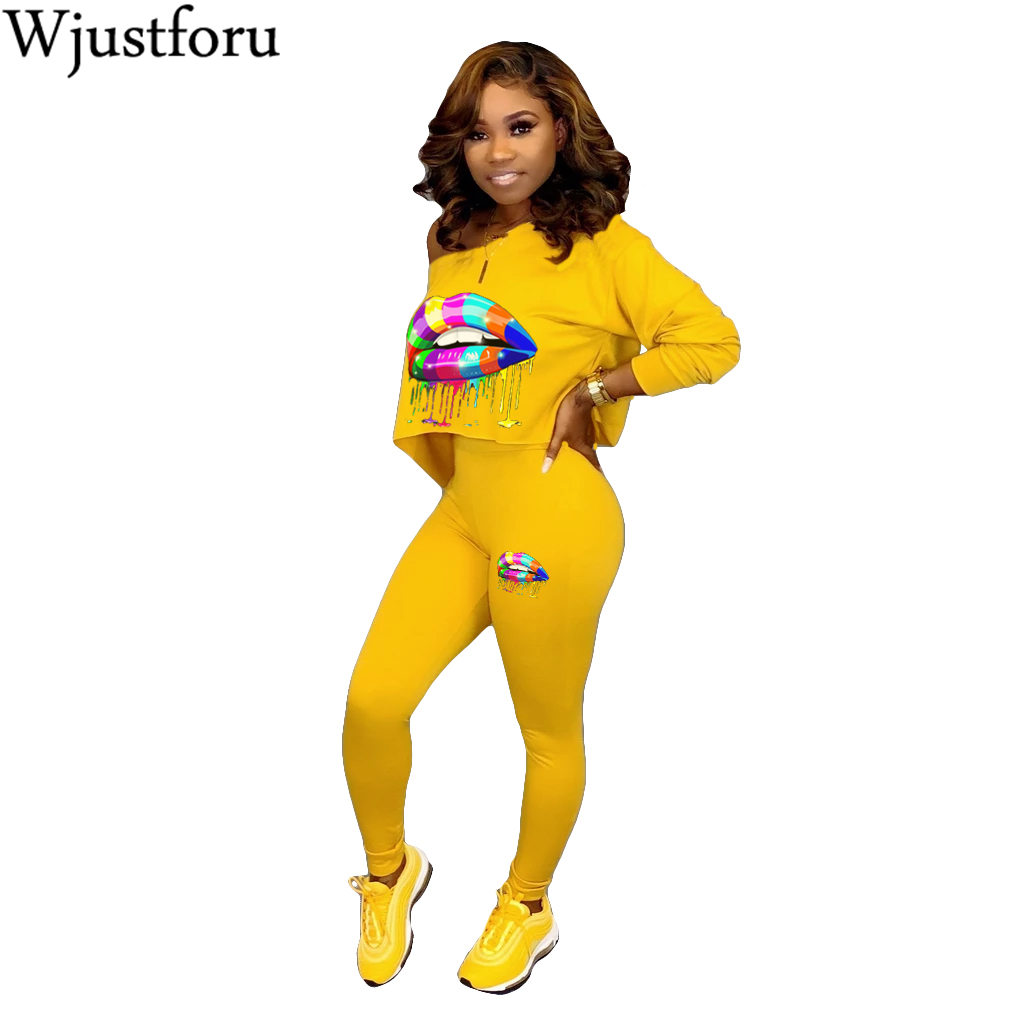 Wjustforu Casual Print 2 Piece Set For Women 2019 Autumn Pullover Tops +Bodycon Pants Off Shoulder Sexy Two Piece Set Slim
