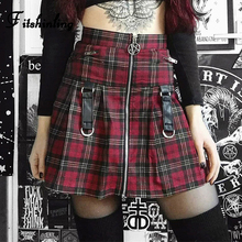Fitshinling Gothic Pentagram Belt Short Skirt Plaid Checker Vintage High Waist Skirts For Women Slim Goth Dark Zipper Saia Sale