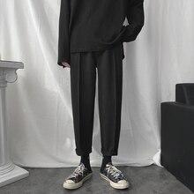 Мужские одноцветные шерстяные спортивные штаны из камвольной ткани, хлопковые повседневные штаны для отдыха, утепленные черные/серые брюки M-2XL