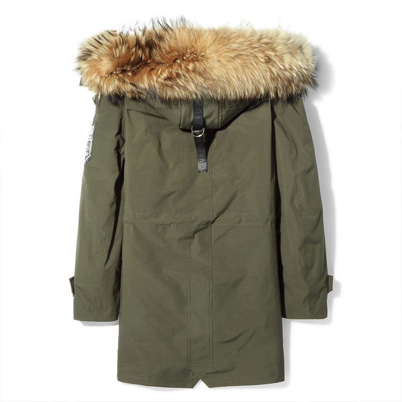 Natural Fur Coat Winter Jacket Men Rabbit Fur Coats Real Raccoon Fur Collar Parka Men Clothes Warm Overcoat P18001 MY777