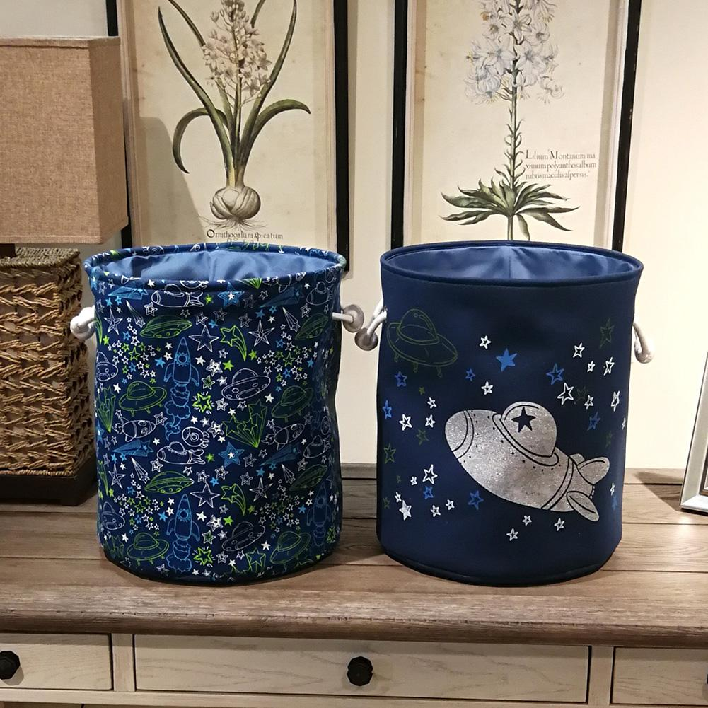 Spaceship Star Moon Print Dirty Clothes Toys Holder Storage Bag Bucket Container