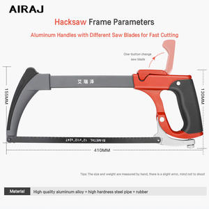 AIRAJ Garden Hacksaw Frame with 6 Saw Blade Household Detachable Heavy Duty Powerful Multi-Function Manual Cutting Tool