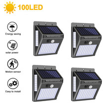 100 Led Solar Light Outdoor Solar Lampen Pir Motion Sensor Wandlamp Waterdichte Solar Zonlicht Aangedreven Tuin Straatverlichting(China)