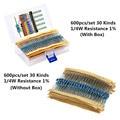 Комплект металлических пленочных резисторов 600 шт./лот 1/4 Вт, набор резисторов 1%, набор в ассортименте, 10 -1 м ом, комплект сопротивления hm, 30 зн...