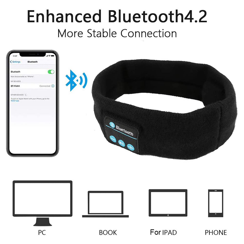 Wireless Bluetooth Music Headband Headphone Magic Earphone MIC Hat Man Women Hands-free Sports Phone Call Answer Ears-free hot! enlarge