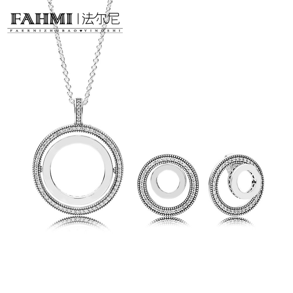 FAHMI 100% 925 Sterling Silver FOREVER SIGNATURE EARRING STUDS 397410CZ Spinning Hearts Of Necklace Set RAU0483 297446CZ-1