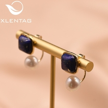 XlentAg Natural Square Lapis Lazuli Fresh Water Pearl Drop Earrings For Women 925 Silver Ear Pin Handmade Fine Jewelry GE0327