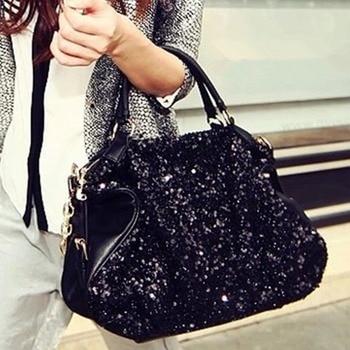 Fashion Women's bag Diamonds Sequins Leather Shoulder Bags Vintage Ladies Handbags Chain Messenger black Big Bag for women 2020