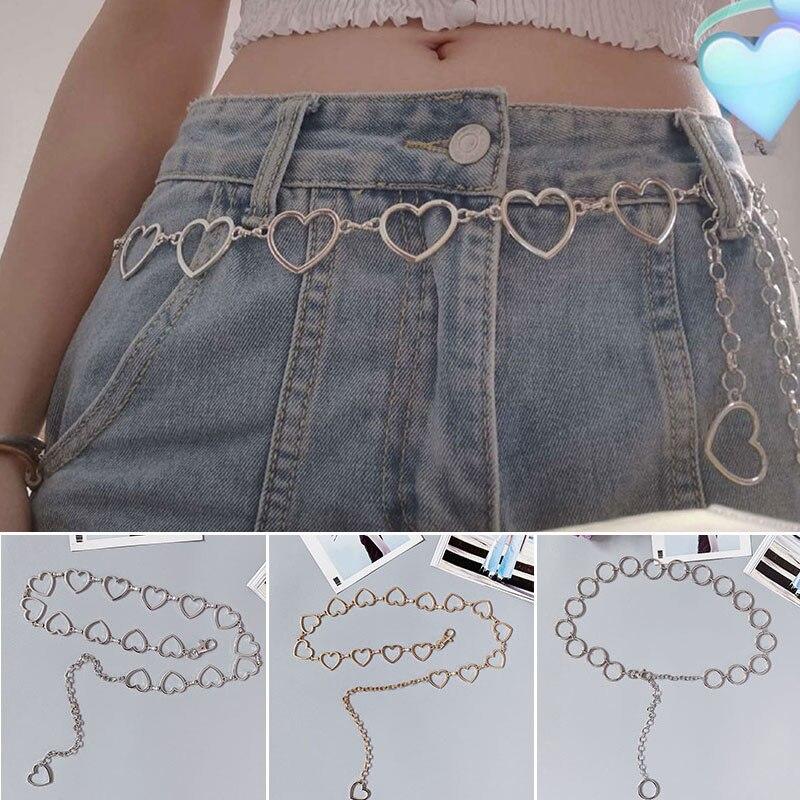 2020 Vinage Flash Drill Heart Waist Chain Belt Cute Silver Metal Belts For Women Punk Style Jeans Belt Girls Skirt Chain Belts