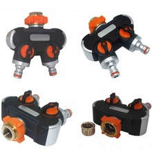 2 Way Garden Hose Splitter Durable Hose Connector Multifunction Watering Irrigation System Pipe Tap Splitter Easy to Connect garden hose splitter connectors attachments two way outdoor adapter rubber washers watering