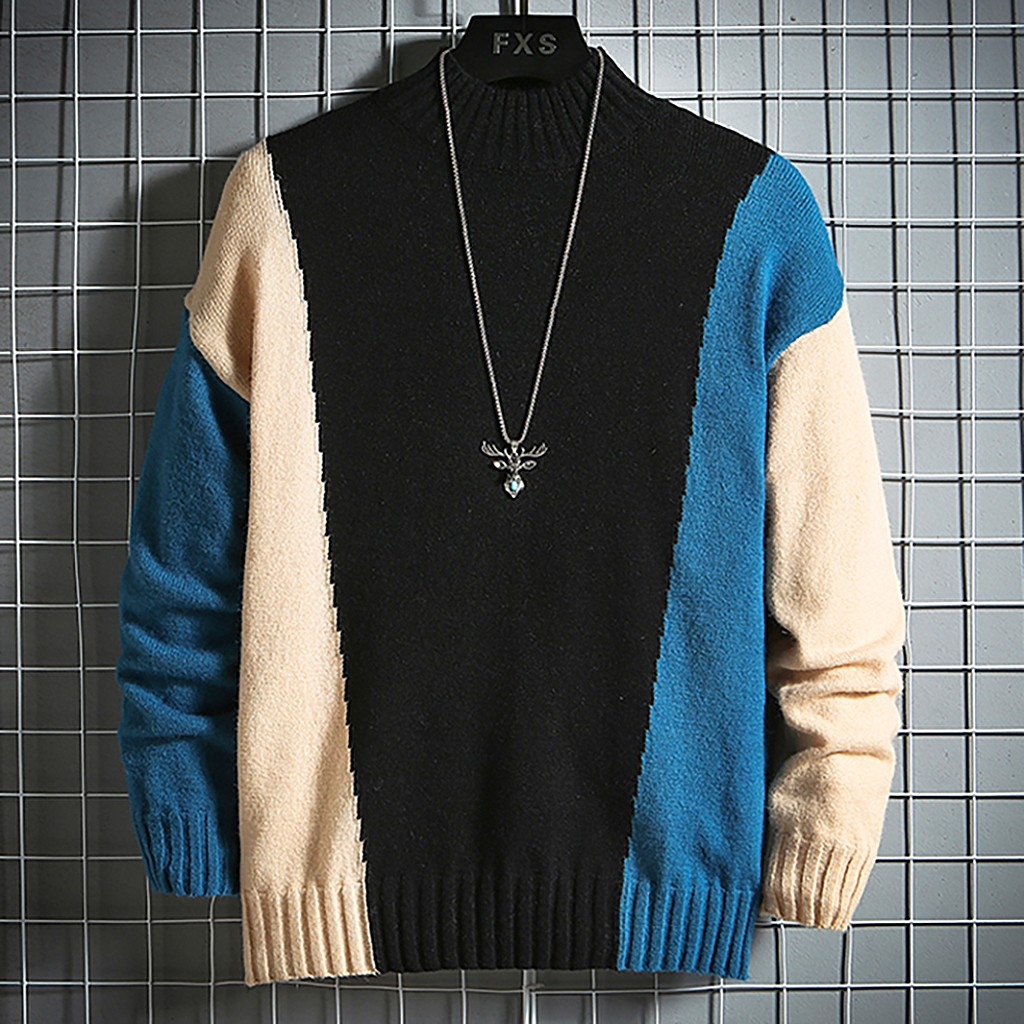 Men's Winter Patchwork Casual Sweater Long Sleeve Printed Knitting Blouse Top Casual Sweater Contrast Color Soft Sweater