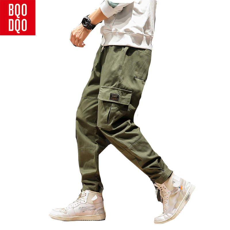 BQODQO Drawstring Sports Casual Harem Pants For Men Autumn Cotton Joggers Trend Trousers Streetwear Baggy Cargo Men's Clothing