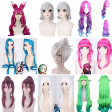 LOL League of Legends KDA Wig Ahri Annie Hastur Jinx Cosplay Wig Long Gradient Pink Wig with Ears Heat Resistant Synthetic Hair(China)