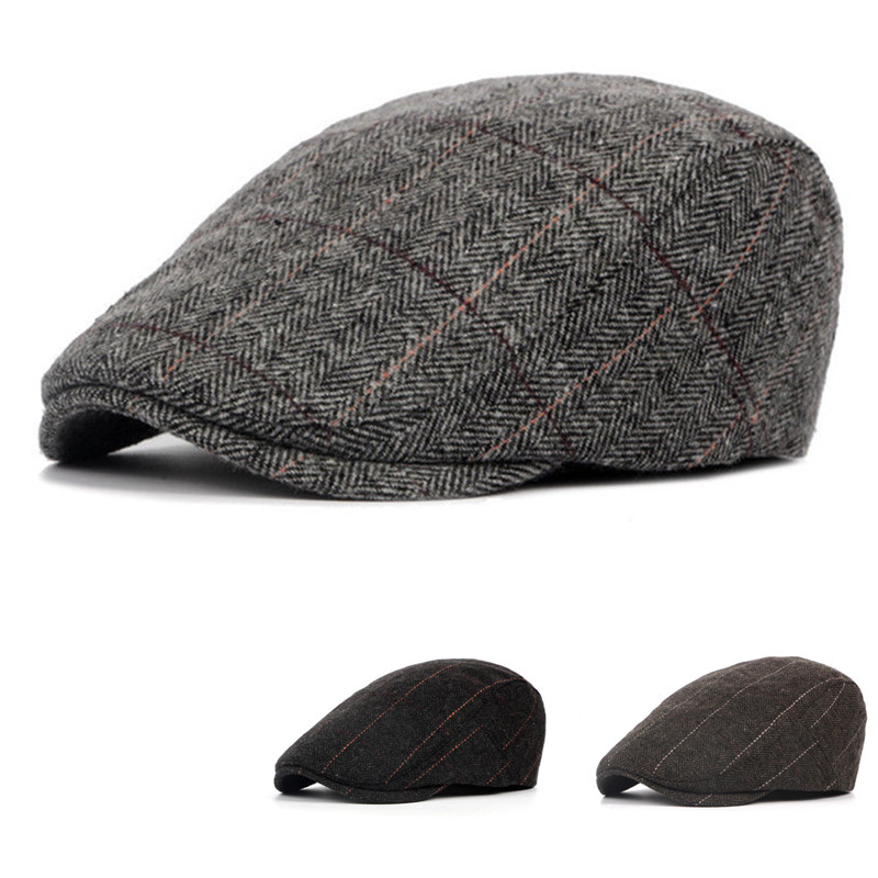 2019 Autumn Winter Men Cap Hats Berets British Western Style Wool Advanced Flat Ivy Cap Gatsby Classic Vintage Striped Beret Cap