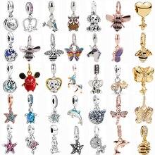 45 типов серебро Цвет подвеска в виде животного браслеты с подвесками птица Морская звезда «Сова», «Микки Маус» Бусы дельфин, подходят к ориг...