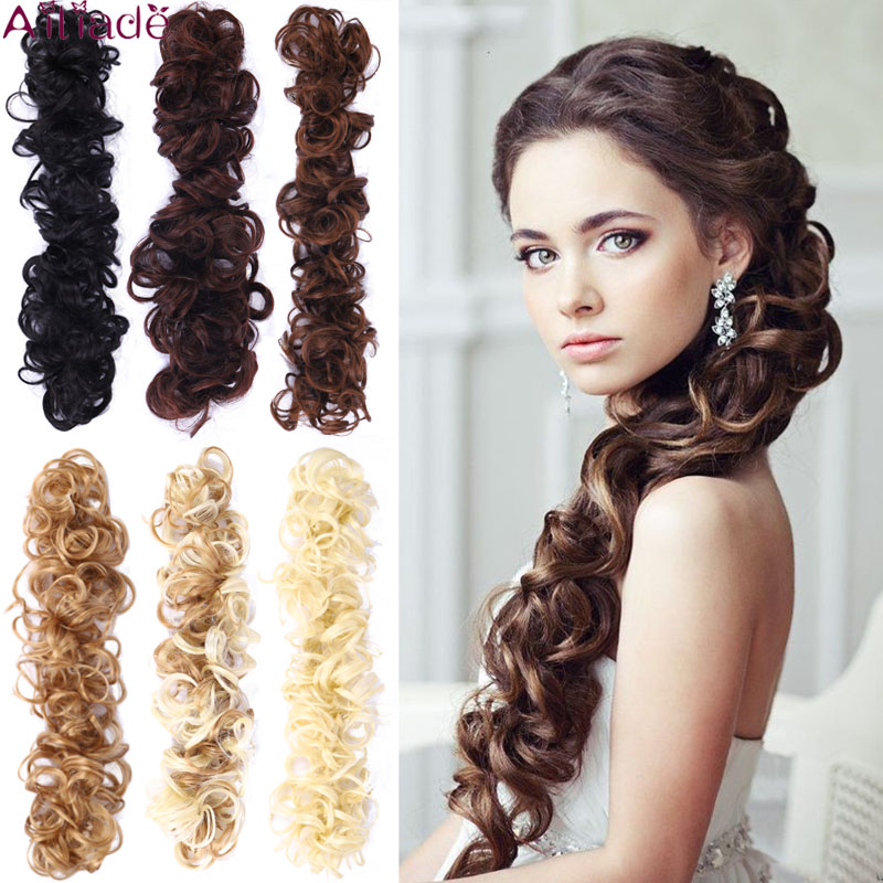 AILIADE Elastic Rubber Band Curly Chignon Updo Cover Hair Bun Chignon Hair Synthetic Hairpiece Twining Ponytail Hair Extensions