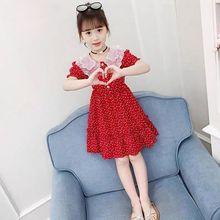 Летнее платье для девочек 12, детская одежда, красивое красное платье с лацканами, 9 модных студенческих платьев, 8 лет, 7 детей, 6 Девочек Вечер...
