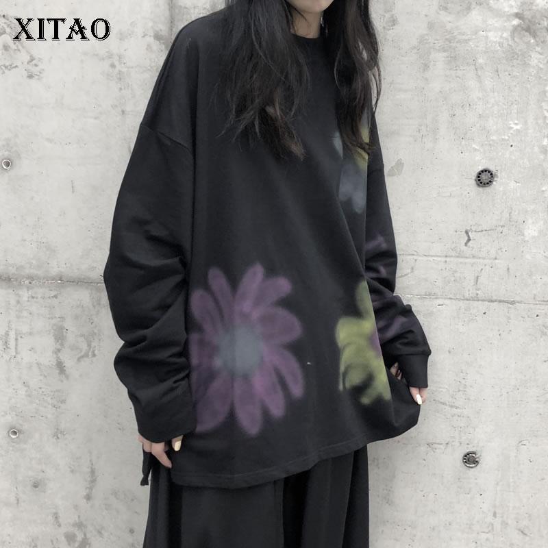 XITAO Make Old Flowers Print Sweatshirt Women Clothes 2020 Fashion Plus Size Pullover Full Sleeve Personality Sweatshirt DMY3015