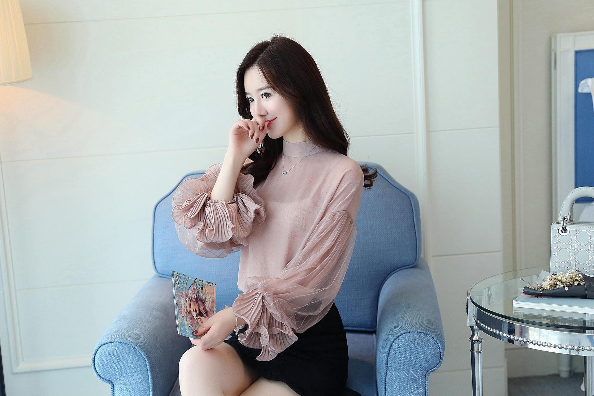 2019 Women tops and Blouses ruffless Summer autumn Long Sleeve White Shirt Casual Female Chiffon Blouse Women Clothing plus size 8