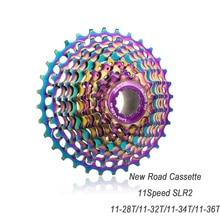 цена на Ultralight Road Bike 11 Speed SLR2 Cassette 11-28/32/34/36T Colorful Bicycle Flywheel Gravel Bike Freewheel 22S Cassette Sprocke
