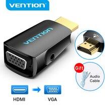 Ventie Hdmi Naar Vga Adapter Hdmi Male Naar Vga Felame Hd 1080P Audio Kabel Converter Met 3.5 Jack Voor PS4 Laptop Pc Box Projector