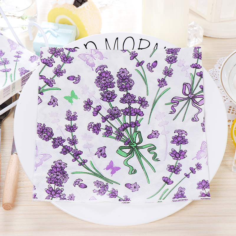 10pcs Food-graded Purple Lavender Flower Printed Napkin Paper Virgin Wood Tissue For Wedding Party Decoration
