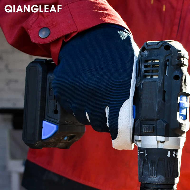 QIANGLEAF العلامة التجارية Hot البيع D الصف الجلود قفاز قفازات العمل مقاومة للاهتراء قفازات أمان للعمل الرجال القفاز شحن مجاني 508