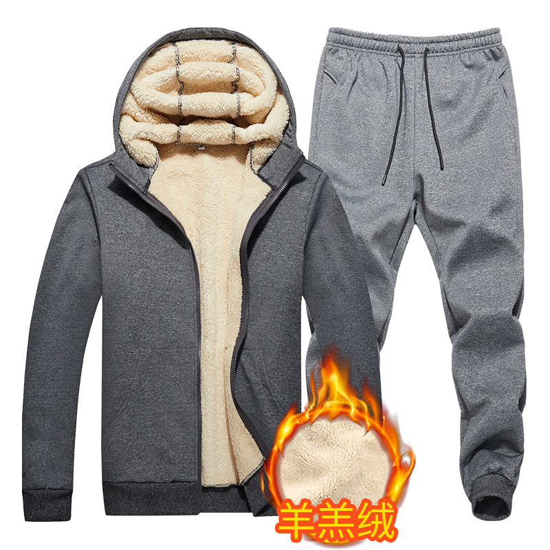 Warm Lamb Cashmere Winter Sweatshirt Mens Cashmere Tracksuit Quality Fleece Thick Men Hoodie+Pant Brand Casual Hooded Track Suit
