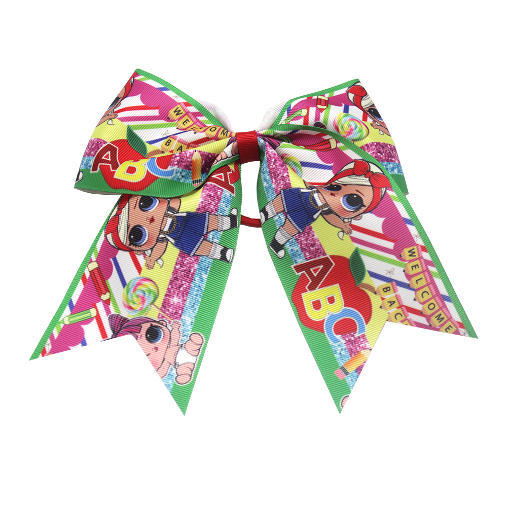NEW 7 inch cute cartoon printing ribbon bow hair LOL surprise baby elastic hair bands scarf handmade DIY hair accessories 7