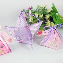 Party Bags New Craft Paper Favor Gift Boxes Favor Candy Box Cone Shaped Wedding Favour Sugar Birthday Supplies Packing Ribbon(China)