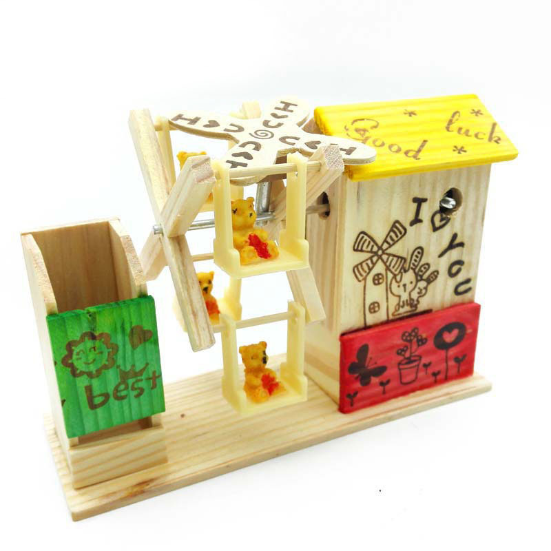 Creative Wooden Color Windmill Rotating Bear Beautiful Music Box Children Birthday Gift Wooden Toy