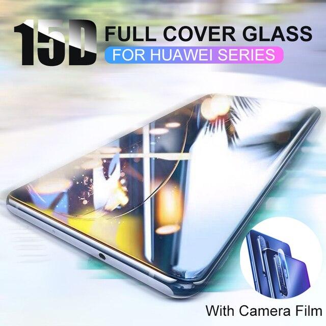 15D โค้งเต็มรูปแบบป้องกันกระจกนิรภัยสำหรับ Huawei P30 P20 Lite Pro 9h กระจกนิรภัยหน้าจอ Protector P20 P30 lite Mate 20 Lite 20X