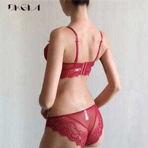 Image 2 - Conjunto de sutiã sexy oco plus size c d cup sutiã verde feminino conjuntos de lingerie bordados sutiãs cílios rendas conjunto de roupa interior transparente
