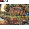 Алмазная живопись HOMFUN, вышивка крестиком 5D, «домик красивого пейзажа», домашний декор, для творчества, A27735