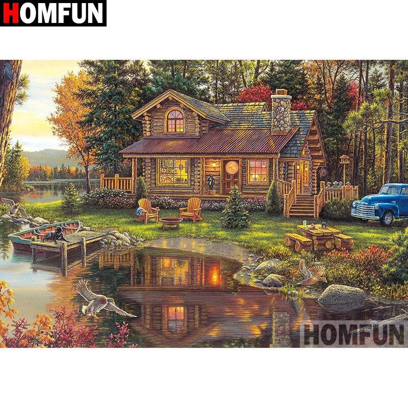 """HOMFUN-peinture diamant thème """"beau paysage de maison"""", broderie 5D, points de croix, décoration dintérieur, Art dintérieur, bricolage-même, A27735"""