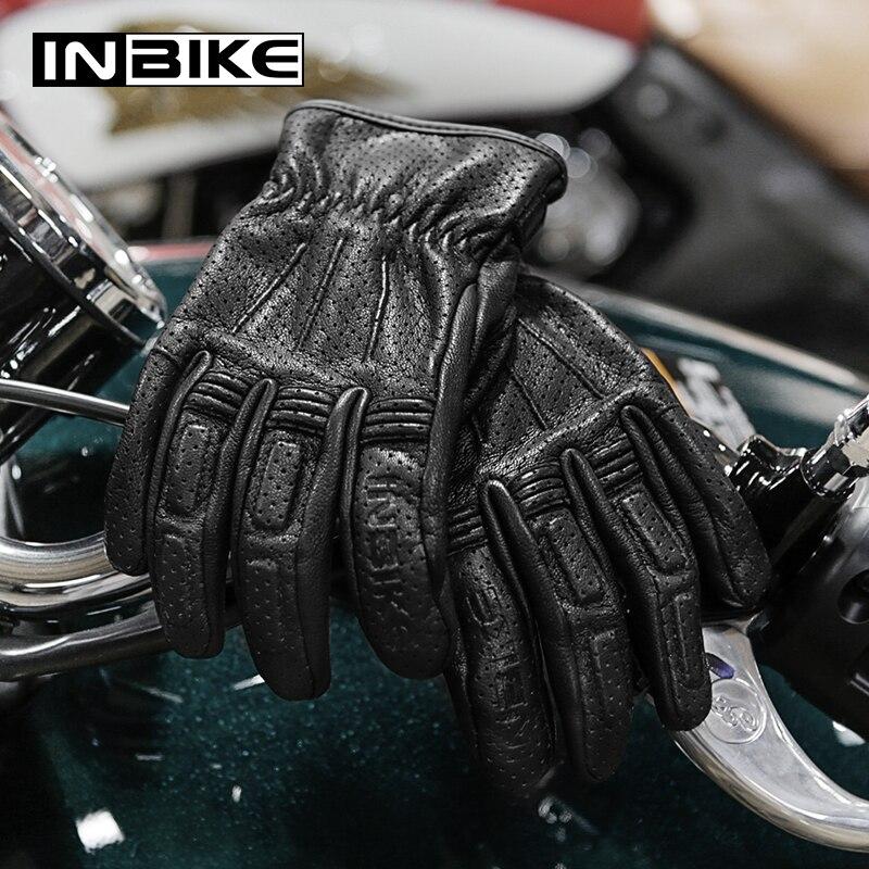 INBIKE Soft Premium Goatskin Leather Motorcycle Gloves All Season Women Men Pro Biker Motocross Gloves Racing Motorbike Gloves